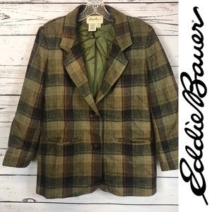Eddie Bauer Wool Ladies Blazer Jacket Plaid Small